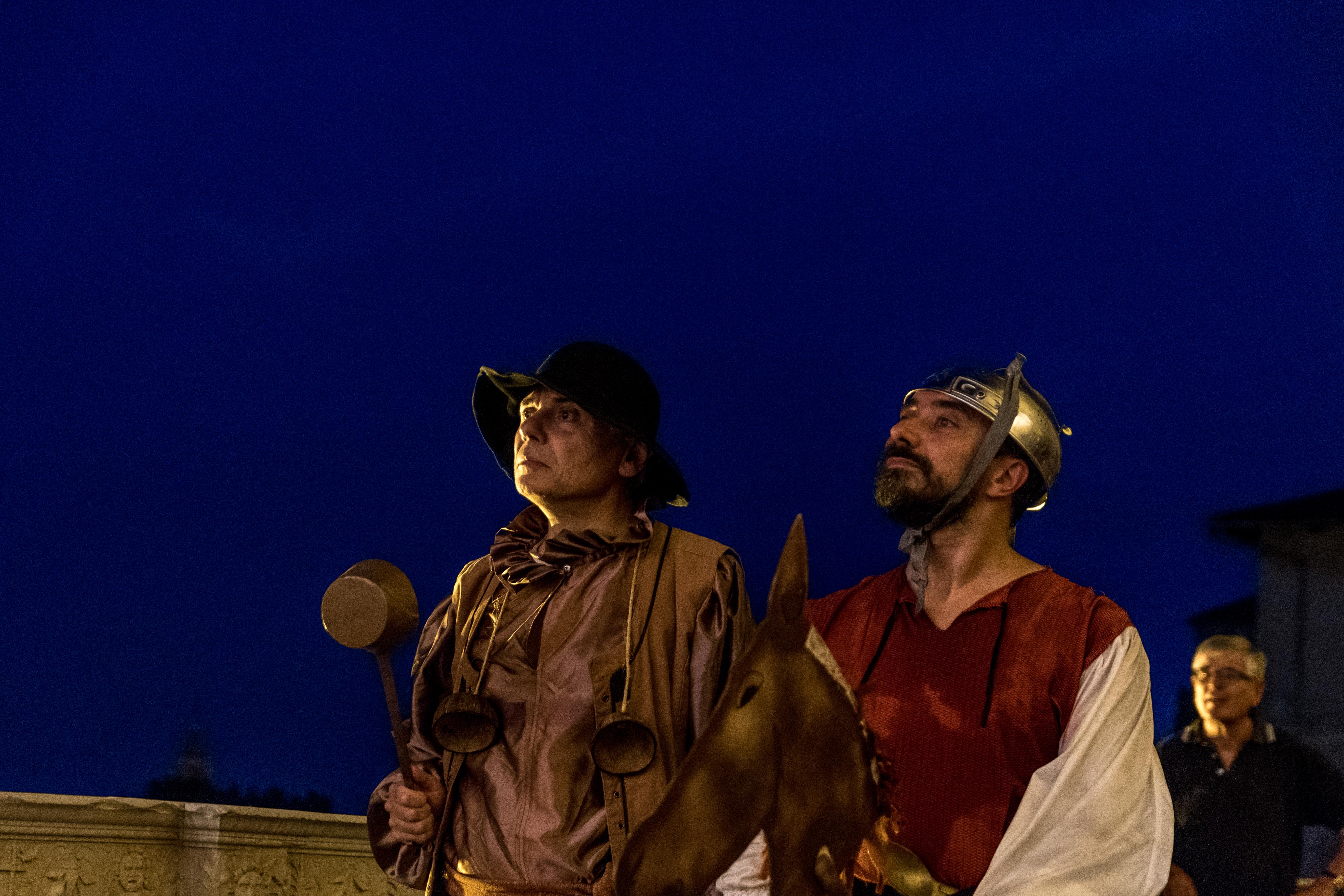 Don Chisciotte e il compagno di avventure Sancho Panza a Casa Cavassa